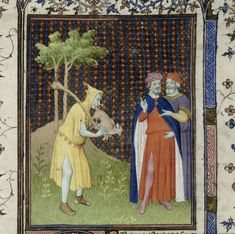 Detail of a miniature of the fool holding a stick and using a small animal to play as if it were the bagpipes, and two men, one of whom is David, at the beginning of Psalm 52. France, Central (Paris). Master of the Boucicaut Hours and his workshop