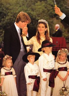 The wedding of Charles Spencer and Victoria Lockwood. The two children on the far right are Laura Fellowes, daughter of his sister Janes, and Prince Harry, son of his sister Princess Diana.