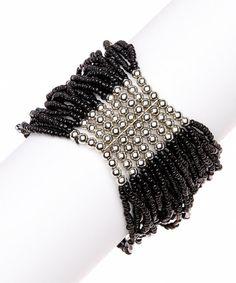Black New York Bead Stretch Bracelet on #zulily