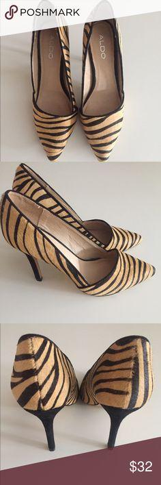 Aldo Leather Animal Print Pump Aldo shoe, style Romelia. Good condition, never worn outside, slight scuffs on bottom. Size EU 38, US 7.5 Retail price $100 Aldo Shoes Heels