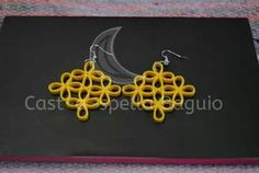 Paper Quilled Yellow Flower Bunch Earrings