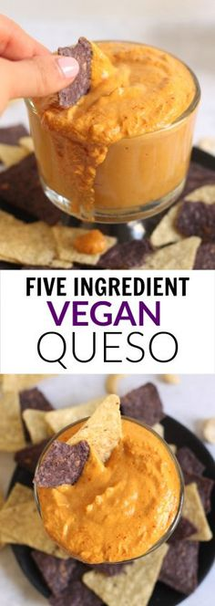 The easiest healthy queso dip made with only 5 ingredients. No one will know it's vegan, gluten-free, and that it only takes 10 minutes to whip up!
