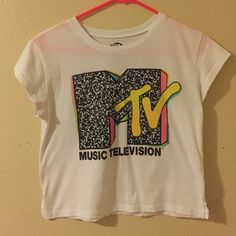 MTv crop top White t-shirt with mtv logo Recycled karma Tops Crop Tops