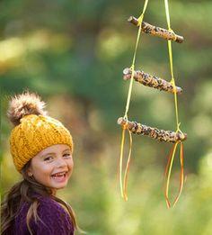 Grandparent gift idea from the kids: diy three-tied stick bird feeder