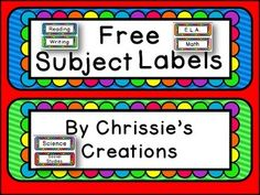 Enjoy these free subject labels. And thank you for browsing my store. If you like, Please leave  rating.  Sure do appreciate it!***Why not organize yourself in one click with the Special Education Start up kit!***Special Education startup kit