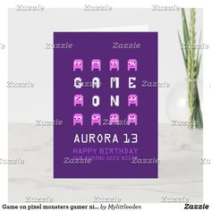Game on pixel monsters gamer niece birthday card Birthday Card Sayings, Birthday Cards, Alien Videos, Monster Games, 13th Birthday, Matching Games, Plant Design, Custom Greeting Cards, Game Design