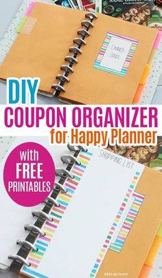 Turn your Happy Planner into a Coupon Organizer with FREE printables! An easy DIY project for Happy Planner to organize your coupons by category, or customize them any way that you'd like. Includes printable labels and a printable shopping list. Printable Shopping List, Free Printable Coupons, Printable Labels, Printable Planner, Planner Stickers, Free Printables, Free Coupons, Shopping Lists, To Do Planner