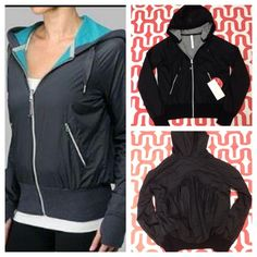 Lululemon reversible Swell Jacket - NWT Black/charcoal grey. New with tags. Wear me ripstop side out or cotton side out. Exterior is made of stretch ripstop forester and wind resistance. Interior is cotton French Terry. Zipper pockets. Thumb holes. Preshrunk. No trades. No PayPal. lululemon athletica Jackets & Coats