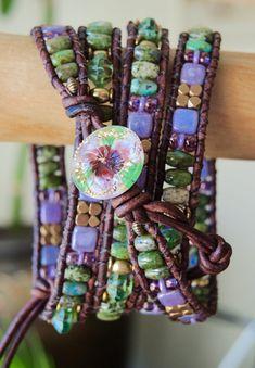 MARDI GRAS Rustic Beaded Leather Wrap by BraceletsofBlueRidge