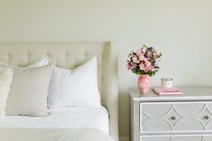Bedside flowers from @teleflora styled by @emilyjacks