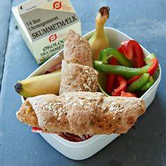 Grove horn med skinke og ost