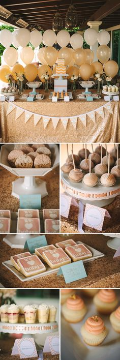 gold and ivory ombre ballons but going from the top down over the bar - love the chevron bunting for under the bar! LOVEEEEE THISSSS  BUT it need more peach and a significant more mint