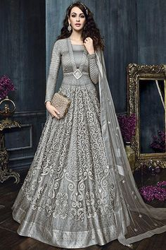 Grey Color Attractive Indian Bride Wedding Wear Fancy Embroidered Gorgeous Look Floor Length Heavy Pant & Lehenga Style Suit #zoya #celebrities #embroidered #salwarkameez #salwarsuits #newfashion #floorlength #anarkali #gownstyle #bollywooddesigner #womenfashion #fashion #style #zariwork #beauty #stonework #onlineshopping #traditionallook #indianlook #bridalwear #indianbrideoutfit