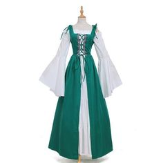 Women's Medieval Renaissance Front Tie-Up Bell-Sleeve Cosplay Dress M-XL 8 Colors