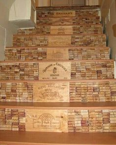 Cork floor made from recycled wine corks at home stairs steps wine cork crafts and diy decorating projects pictures to pin on solutioingenieria Image collections