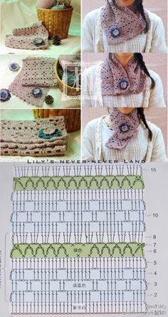 Patron Crochet Cuello.Bufanda - Patrones Crochet . stitch crochet pattern scarf