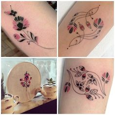 """""""Russian floral #embroidery inspired tattoo series © @brusimoes Vitória Brazil"""""""