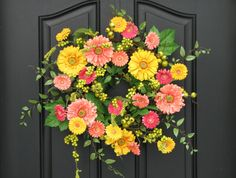 Wreaths, Spring Wreath for Front Door, Gerber Daisy Wreath, Yellow Daisy Wreath, Wreaths for Spring, Spring Door Wreaths, Wreaths by twoinspireyou on Etsy https://www.etsy.com/listing/68972077/wreaths-spring-wreath-for-front-door