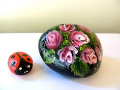 Set Of Handpainted Rocks With Roses And Ladybug