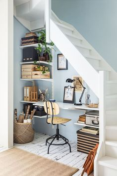 Workspace under the stairs with blue walls