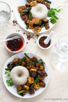 Vegan Chinese Szechuan eggplant and tofu recipe  -- Wake up the natural flavors in your food with Ac'cent - accentflavor.com #accentflavor #vegetarian #tofu #recipe