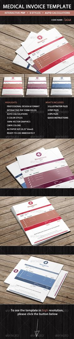 Medical Pharmacy Invoice Template - Luisa #GraphicRiver Invoice Luisa is professional medical invoice template for pharmacies designed in 3 color variants with simplicity in mind by Invoicebus. It's made to guideline and simplify your billing process and also make you look professional in front of your clients. Luisa's structure is generic, so you may use it for various pharmaceutical and medical services. The PDF template implements interactive form fields that allow you to enter custom…