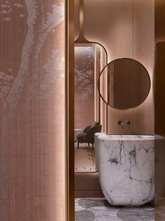 Home Interior Salas Yabu Pushelberg - Work Bathroom Plants, Bathroom Colors, Bathroom Sets, Bathroom Fixtures, Modern Bathroom, Gold Bathroom, Master Bathroom, Bathroom Hacks, Contemporary Bathrooms