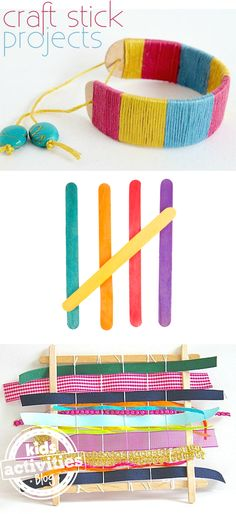 6 Fun Craft Stick Projects for Kids. Great art ideas for a rainy day. Craft Stick Projects, Craft Stick Crafts, Crafts To Do, Projects For Kids, Diy For Kids, Crafts For Kids, Craft Sticks, Preschool Art, Craft Activities For Kids