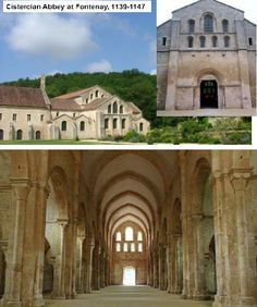 NAME: Cistercian Abbey Church,  LOCATION: Fontenay, France,  DATE: Romanesque,  CULTURE: French Christian,  FUNCTION: abbey,  MATERIALS: stone,  TECHNIQUES: orderly plans based upon square module,  NOTABLE: Stricter observance of Benedictine Rule, bare tympanum, No decorative capitals