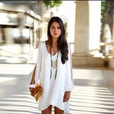 White Flowy Bohemian V Neck Dress with Open Long sleeve | Shop this product here: spree.to/aamw | Shop all of our products at http://spreesy.com/Brancorn    | Pinterest selling powered by Spreesy.com