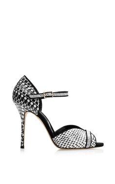Christina Printed Snakeskin Sandals by Oscar de la Renta.