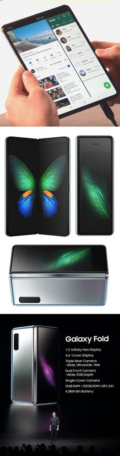 """Samsung Galaxy Fold: High-priced gamble? Samsung's folding smartphone/tablet combines two displays, six cameras and two batteries in a unit that will fill pockets and empty wallets. Will prospective buyers know when to hold 'em (tablet with 7.3-inch """"Infinity Flex"""" display), know when to fold 'em (4.6-inch skinny cover screen), know when to walk away and (wait for it…) know when to run ($1,980 price)? Time and competition from other smartphone makers will tell. #GalaxyFold @samsungUS…"""
