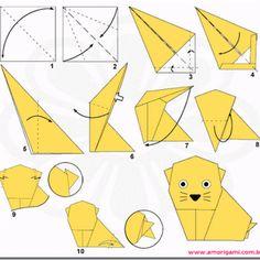 Origami gatito para niños, con diagramas