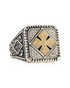 Gentlemen:  #Gentlemen's #jewelry ~ Men's Maltese Cross Square Ring, by Konstantino at Neiman Marcus.