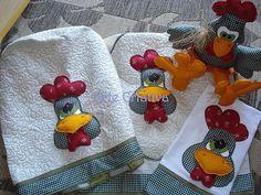 Jogo cozinha Galo José capa bombona de água, toalha fogão, pano de prato e peso de porta by Norma / Arte Criativa, via Flickr