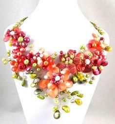 My Flower Garden - Jewelry creation by Madalynne Homme Flower Jewelry, Flower Necklace, Wire Wrapped Jewelry, Wire Jewelry, Wire Crafts, Large Flowers, My Flower, Wire Wrapping, Jewelry Making