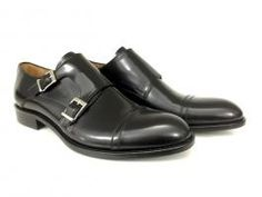 Double monk in black brushed leather. PAPA - 100% Made in Italy!