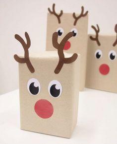 Emballages cadeaux : DIY idées pour de beaux paquets cadeaux /// #aufeminin #ElleHabiteLa #Marmiton #cadeau #renne #rudolph #diy #decoration #noel #paquet #emballage #kraft