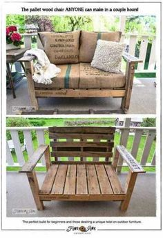 pallet-love-seat kind of like the boxy style- and the burlap cushions- love! #palletwood