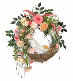 Pink Silk Floral Wreath for Door Front Door by AdorabellaWreaths, $160.00