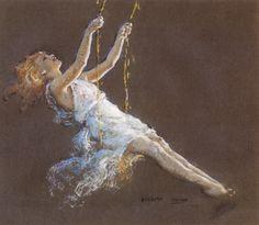 Everett Shinn, Girl On A Swing  |