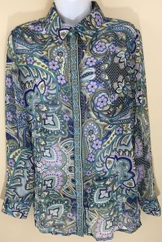 Chico's Sheer Paisley Floral Long Sleeve Button Up Blouse Tunic Top Shirt 1 S-M #Chicos #Blouse #Casual