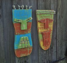 Tiki Man Tiki Mask Wall Hanging Wood Sculpture by TheSavvyShopper1