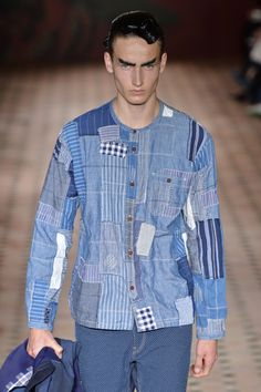 This is just one example of Junya Watanabe's covetable patchwork from his Japanese indigo inspired collection this morning