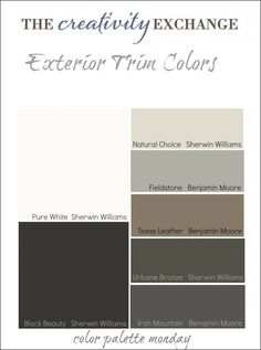 Tricks for Choosing Exterior Paint Colors Round up of dependable exterior trim colors with home examples. Tips and tricks for choosing the perfect exterior trim color from The Creativity Exchange Exterior Gris, Exterior Color Schemes, Exterior Design, Exterior Shutter Colors, Exterior Shutters, Benjamin Moore Exterior, House Paint Color Combination, Color Combos, Exterior House Colors Combinations
