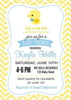 """12 photos of the """"Create Rubber Ducky Baby Shower Invitations Designs""""Related posts of """"Create Rubber Ducky Baby Shower Invitations Designs""""Tips Read Ducky Baby Showers, Baby Shower Duck, Rubber Ducky Baby Shower, Baby Shower Gender Reveal, Baby Shower Parties, Baby Shower Themes, Baby Shower Gifts, Shower Ideas, Bebe Shower"""
