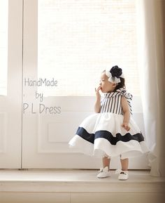 Navy Baby Toddlers Wedding Flower Girl Easter Holiday by PLdress, $68.00