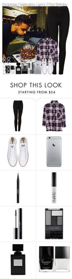 """""""Backstage Celebrating Liam's 22nd Birthday"""" by elise-22 ❤ liked on Polyvore featuring Topshop, Pull&Bear, Converse, Stila, NARS Cosmetics, shu uemura, Wet n Wild, Butter London and ASOS"""