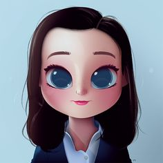 Cartoon, Portrait, Digital Art, Digital Drawing, Digital Painting, Character Design, Drawing, Big Eyes, Cute, Illustration, Art, Girl, Blue Eyes, Suit
