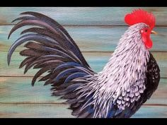 Learn how to paint a simple black and white rooster with acrylic paints in this free full length tutorial by Angela Anderson. This is a great beginner projec...